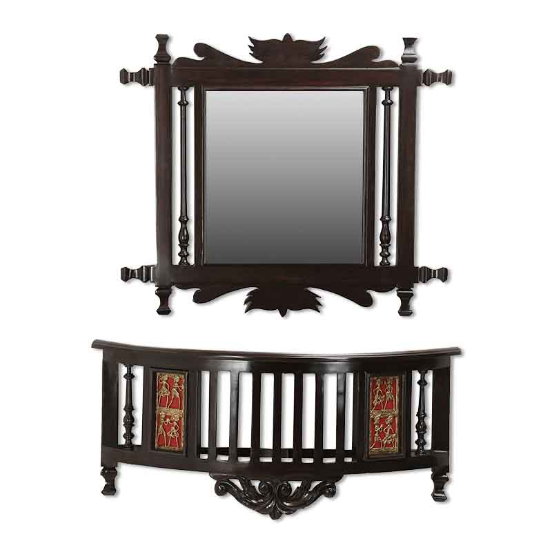 Moorni Teak Wood Royal Wall Mirror and Shelf in Walnut Brown - EL-020-146