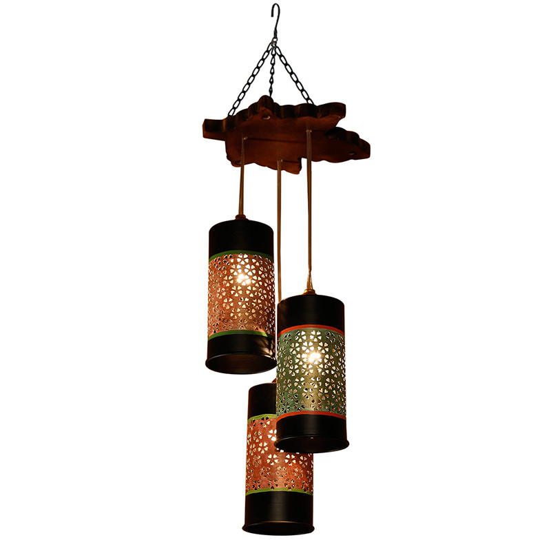 Moorni Cylindrical Chandelier With Metal Hanging Lamp Shades (3 Shades)