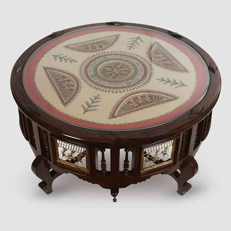 Moorni Teak Wood Round Center Cum Coffee Table with Warli and Dhokra Work