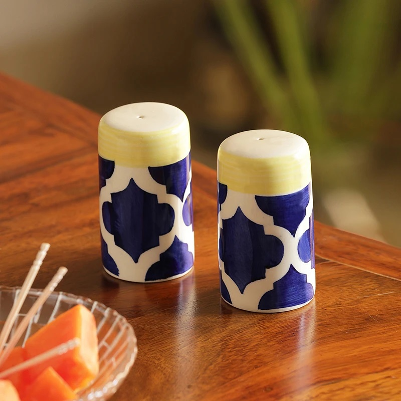 Moorni Shakers Patterns Handpainted Salt & Pepper Shaker Set In Ceramic