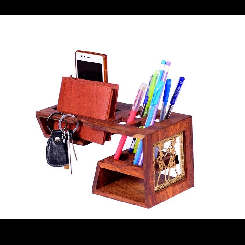 Desk Organizer in Wood and Metal Work