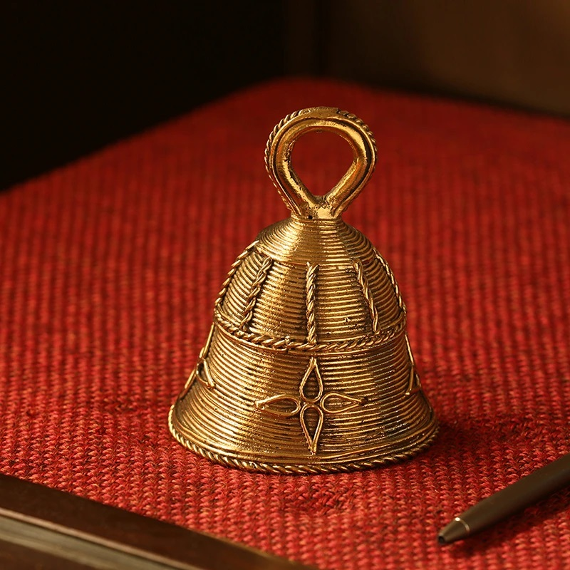 Moorni Tinkling Melody Handmade Brass Decorative Pooja Bell In Dhokra Art