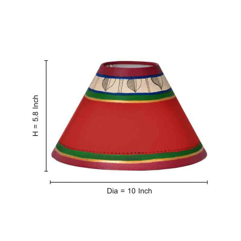 Moorni 18 Inch Terracotta Handpainted Madhubani Tappered Lamp in Natural White & Gold