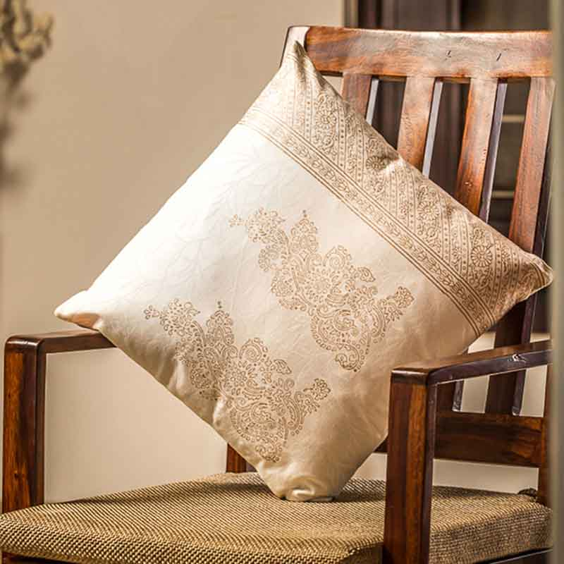 Moorni Wooden Block Printed Cotton Cushion Cover - Set of 3 - EL-026-053