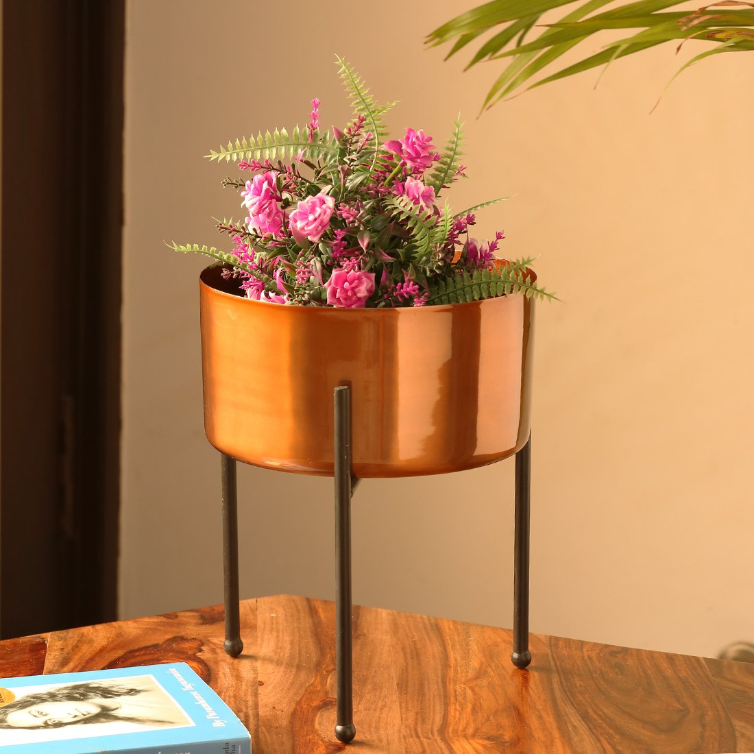 Moorni Copperish Gloss Table Planter Pot With Tri-Stand In Iron (10.5 Inch)