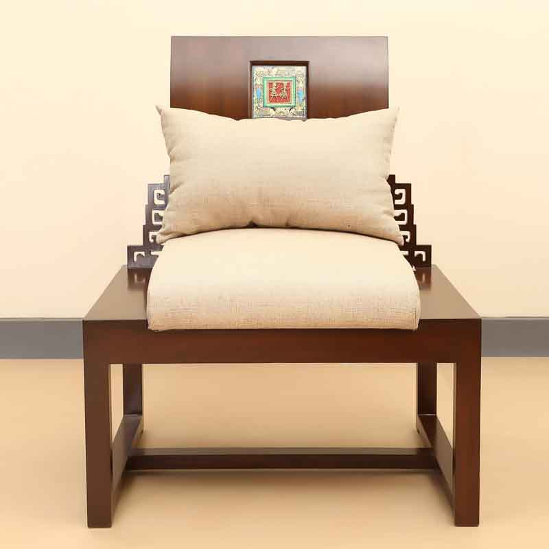 Moorni Teak Wood King Size Single Seater Sofa Cum Chair with Madhubani and Dhokra Work