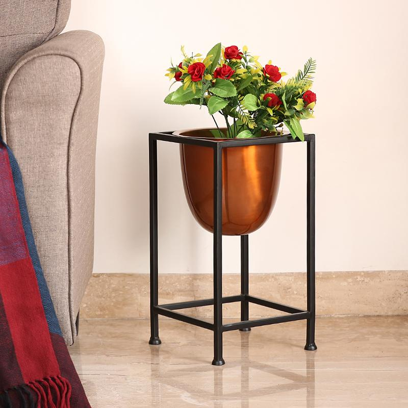 Moorni Copperish Gloss Floor Planter Pot With Cuboidal Stand In Iron (16.5 Inch)
