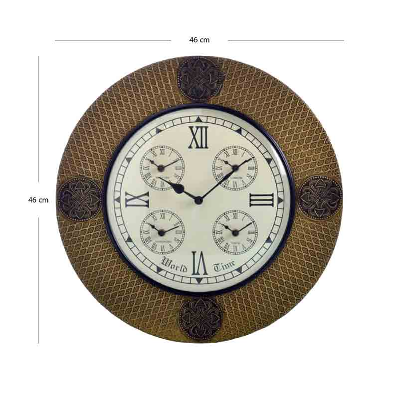 Traditional Rajasthani Brass Design Wall Clock (46cm)