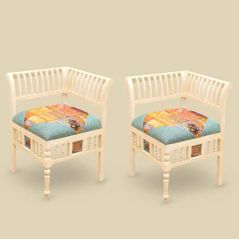 Moorni Teak Wood L Shaped Living Room Chair Set with Dhokra Art White