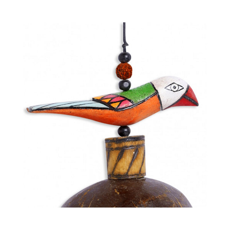 Moorni Multicoloured Wooden Handmade Wind Chime With Kutchh Bell - EL-015-039