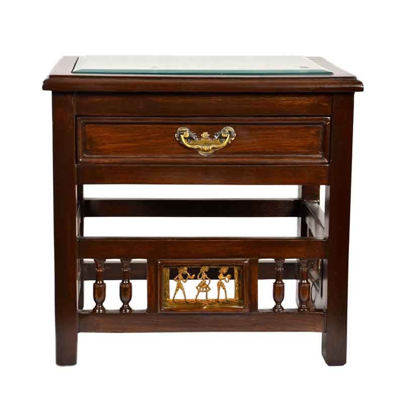 Moorni Teak Wood Bed Side Table with Dhokra and Warli Work