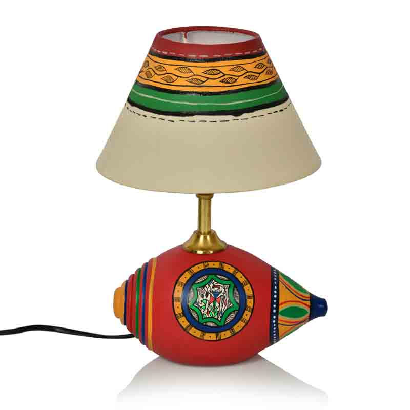 Moorni 12 Inch Terracotta Handpainted Warli Shankh Lamp in Red