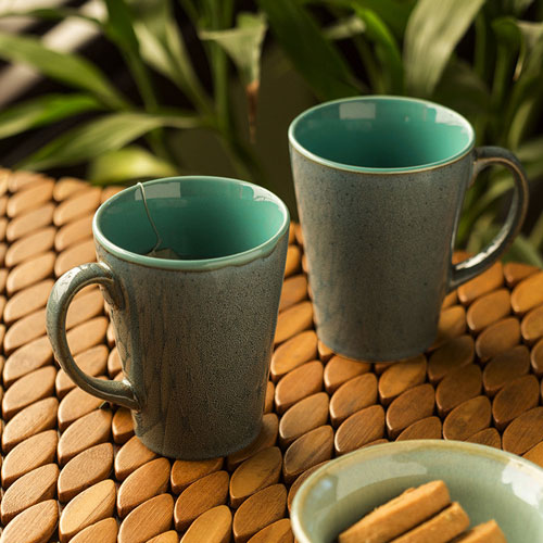 Moorni Blues Of Sky Studio Pottery Glazed Coffee Mugs In Ceramic (Set Of 2)