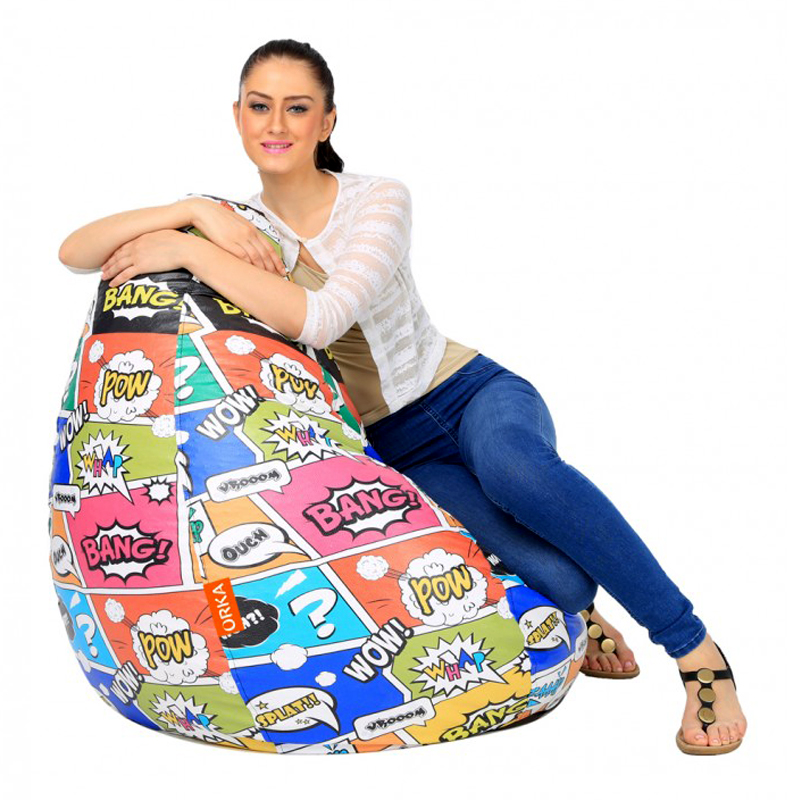 ORKA Bean Bag Filled with Beans - Multicolor Design