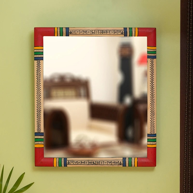 Moorni Warli Red & Golden Hand-Painted Wall Mirror In Pine Wood (13.5 Inch)