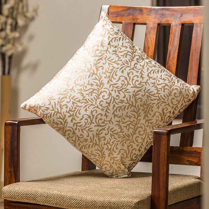 Moorni Sheer Wooden Handblocked Cushion Cover in Soft Cotton - EL-026-040