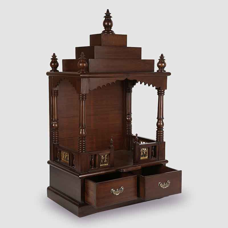 Moorni Teak Wood Temple in Walnut Brown - EL-020-147