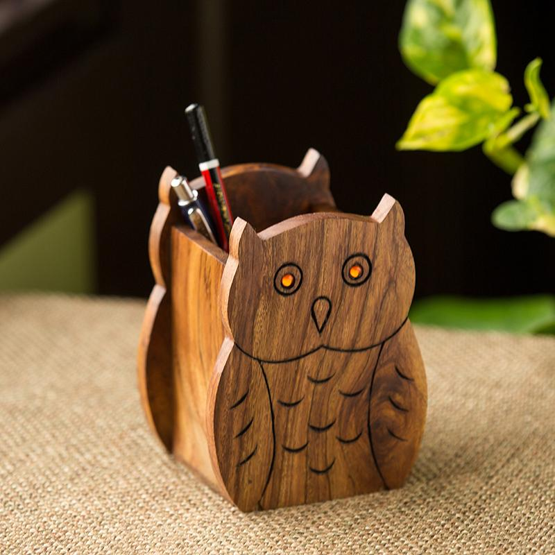 Moorni The Two Hooting Owls Table Organiser With Hand Carved Owl Motif In Sheesham Wood