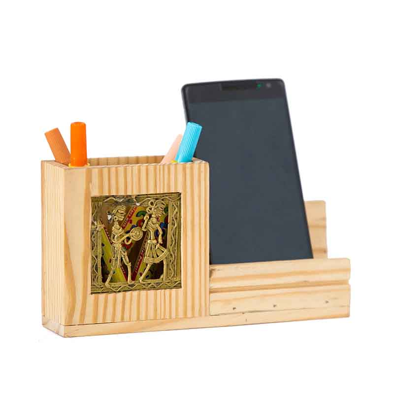 Olha-o Pine Wood Pen Stand with Mobile Holder