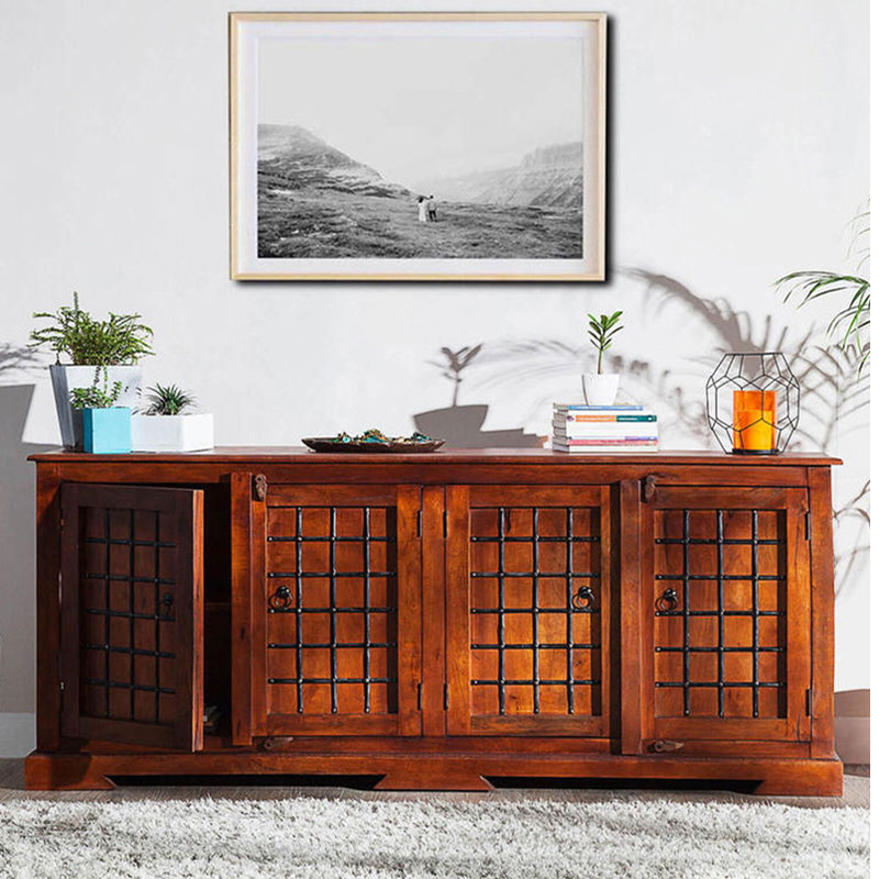 Navi Art Wood Entertainment Unit in Honey Oak Finish - SBA063