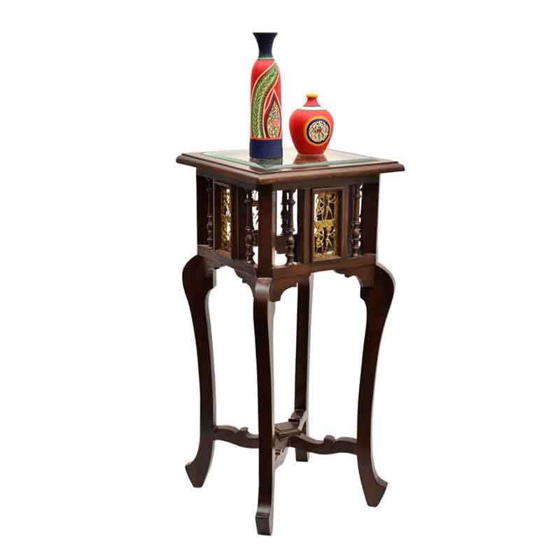 Moorni Teak Wood Corner Table with Dhokra and Warli Work - EL-020-003