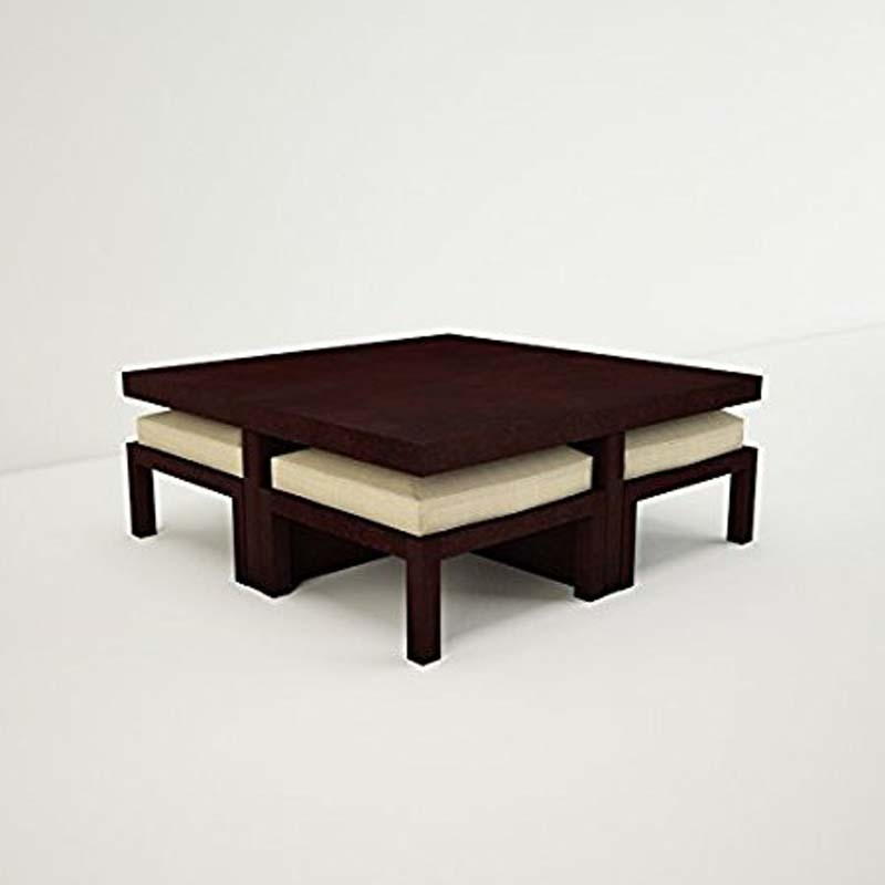 Samaira Craft Solid Wood Coffee Table Set With 4 Stools Shcts0079 Am04