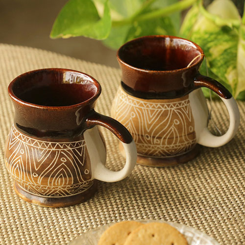 Moorni Cocoa & Fire Carvings Studio Pottery Tea & Coffee Mugs In Ceramic (Set Of 2)