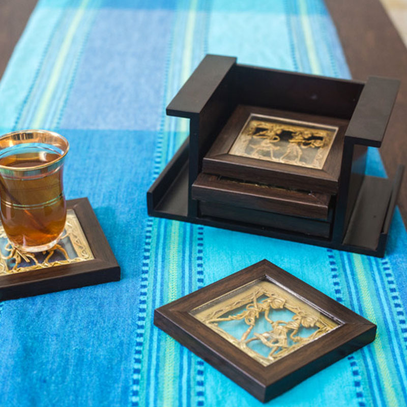 Olha-o Tribe Set of 6 Coasters with Stand Brown