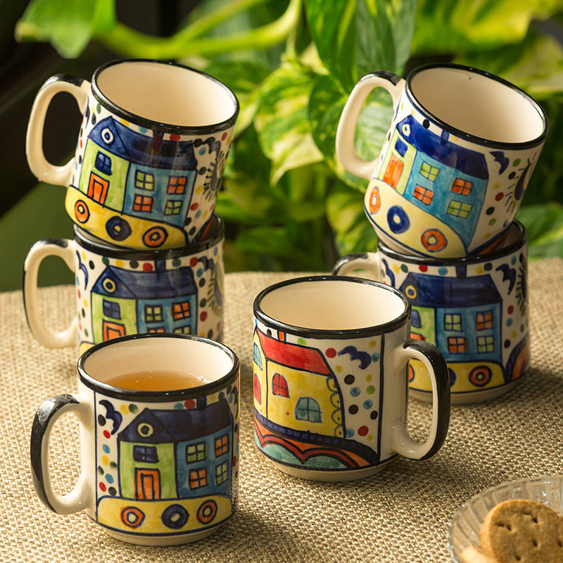 Moorni The Hut Coffee Hangouts hand-Painted Ceramic Tea & Coffee Mugs (Set Of 6)