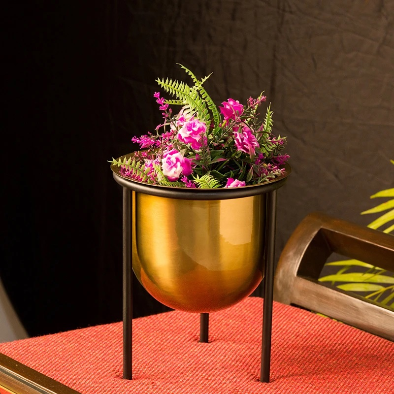 Moorni Brassy Gloss Table Planter Pot With Tri-Stand In Iron (8.5 Inch)