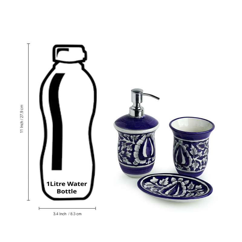 Moorni The Floral Mughal Hand-Painted Ink Blue Ceramic Bathroom Accessory Set Of 3