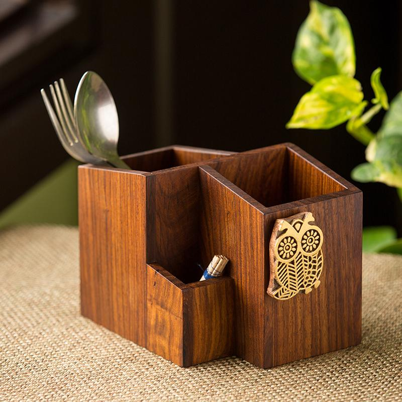 Moorni Hoot Of The Owl Cutlery Holder Handcrafted In Sheesham Wood