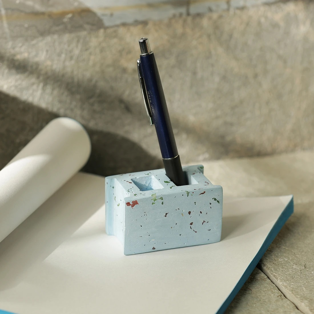 Moorni The Rectangular Essentials Handcrafted Terrazzo Pen Stand & Paperweight In Concrete