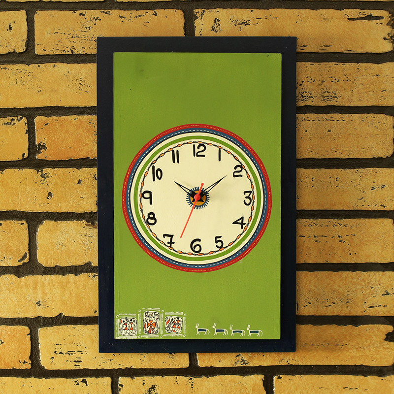 Moorni The Green Hour Warli Hand-Painted Wall Clock In Wood