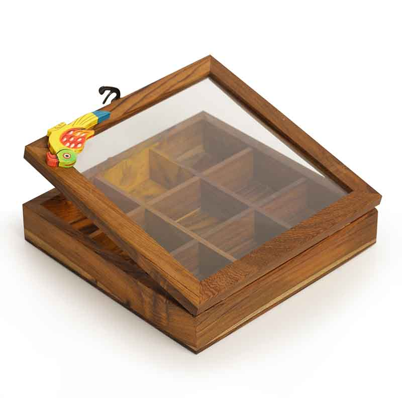 Moorni Bird Spice Box in Teak Wood