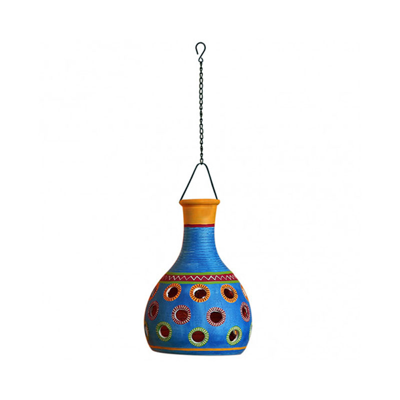 Moorni Terracotta Pendant Cum Hanging Lamp In Azure Blue - EL-003-138