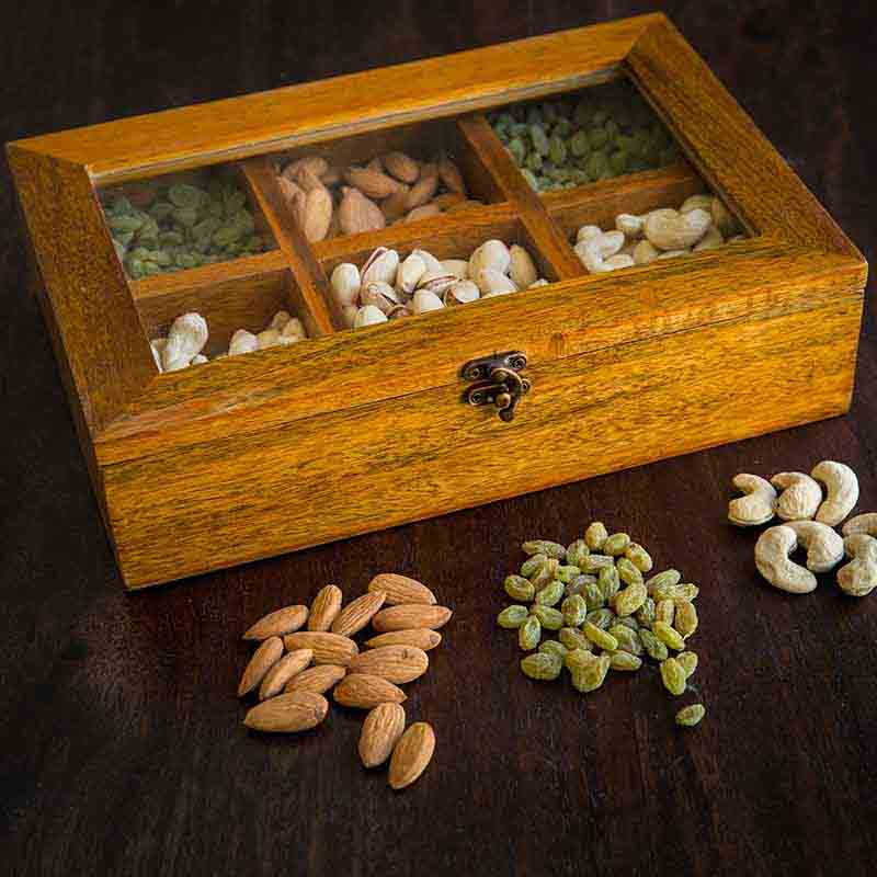 Olha-o Dry Fruit Box with Six Compartments