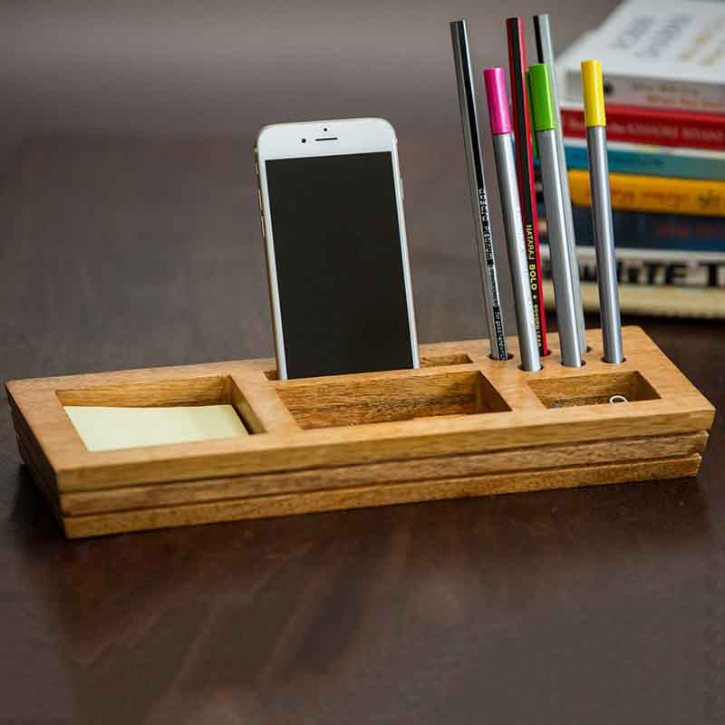 Olha-o Mango Wood Table Organizer with Post-It Sticky Note
