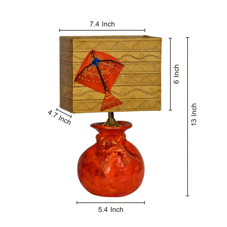Moorni 13 Inch Terracotta Potli Lamp with Handpainted Kite Shade