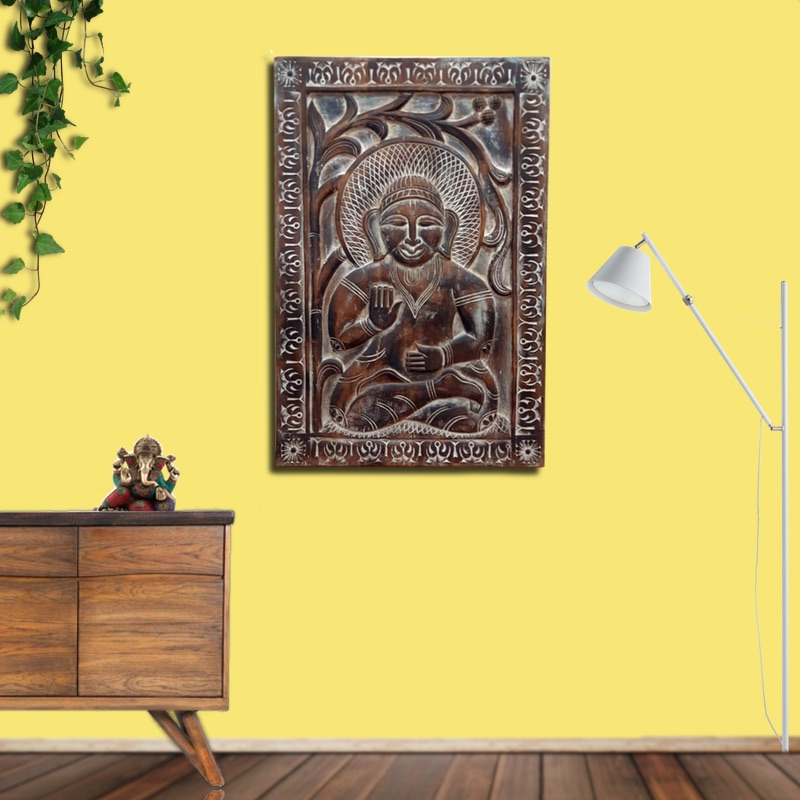 Moorni Large Buddha Wall Accent in Natural Wood