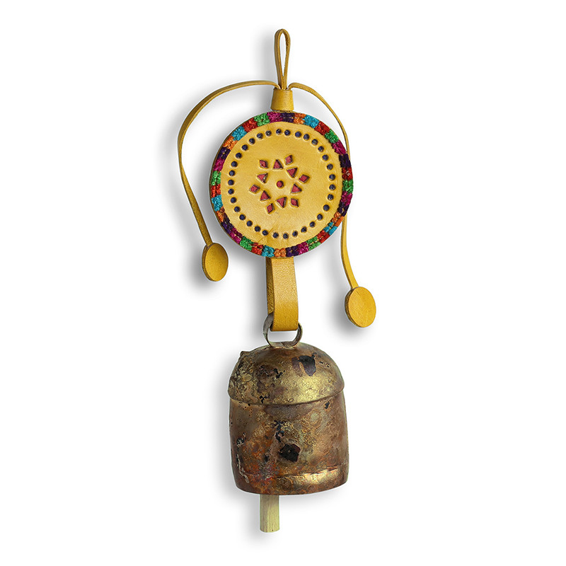 Moorni Handmade Antique Metal Bell Wind Chime With Leather Strap EL-015-066