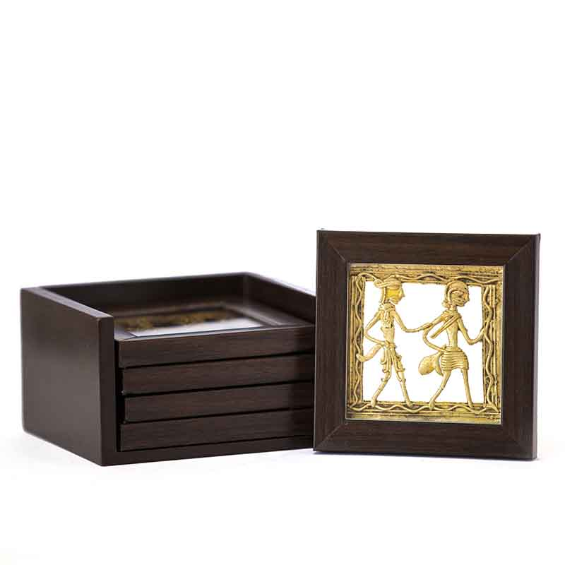 Olha-o Dhokra Coaster Set with Stand (Available in Set of 4)