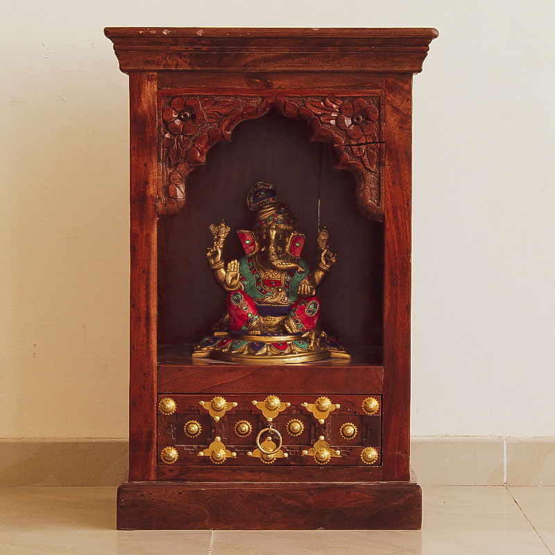 Moorni India Wooden and Brass Temple (Wall Mount)