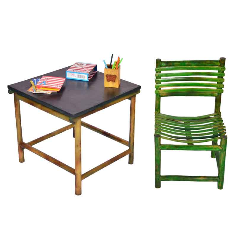 Moorni Kids Study Table and Chair Set in Bamboo - EL-020-027