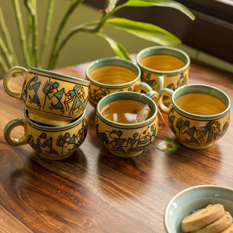 Moorni Celebration In Sand Warli Hand-Painted Tea & Coffee Cups In Ceramic (Set Of 6)
