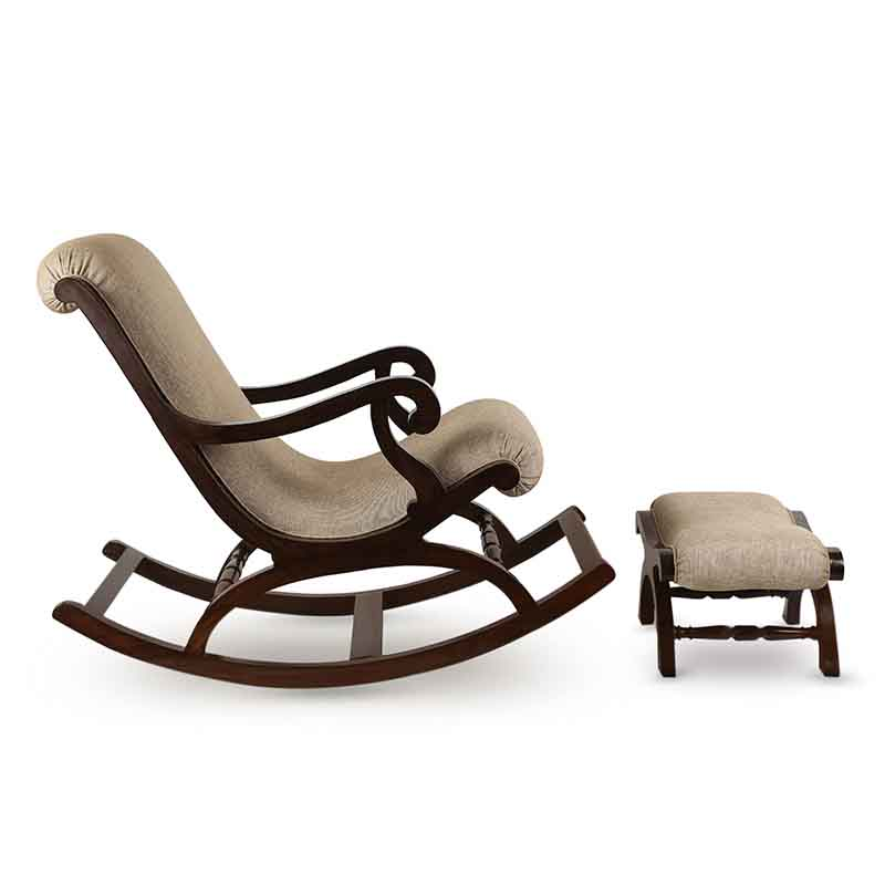 Moorni Teak Wood Rocking Chair with Foot Rest