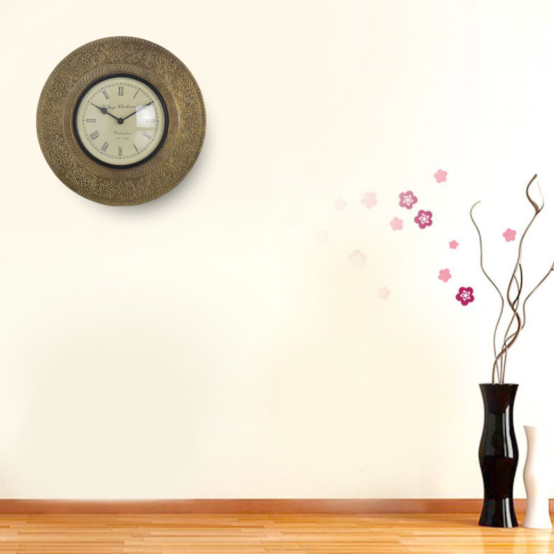 Traditional Rajasthani Wall Clock with Brass Work (40cm)
