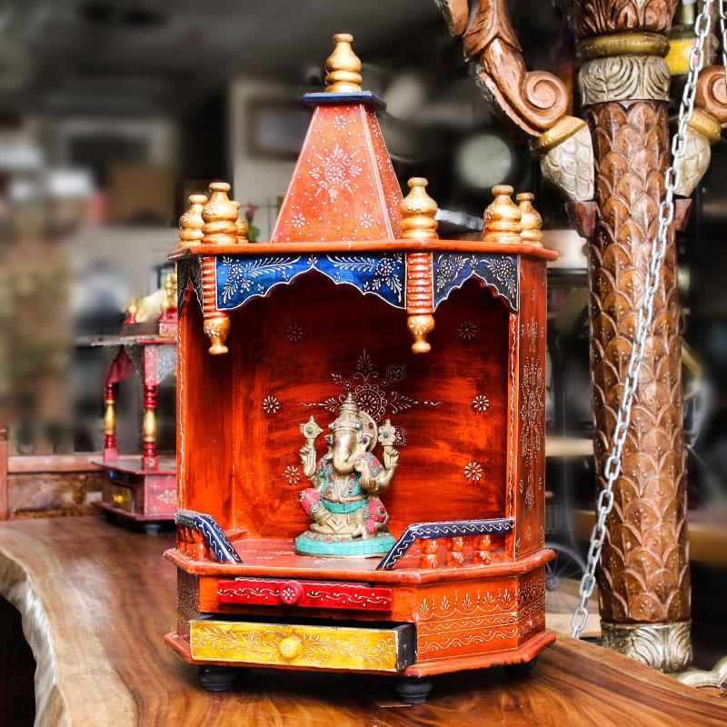 Moorni Handmade Wooden Medium Tall Temple (Multicolor)