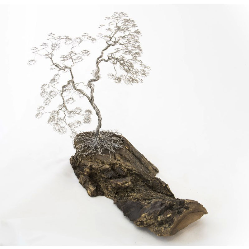 Handmade Natural Wood with Silver Windy Tree