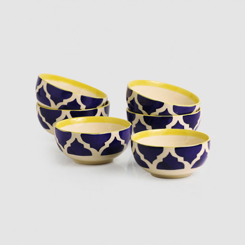 Moorni Six Mediterranean Bowls Handpainted Serving Bowls In Ceramic (Set Of 6)